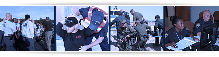 ATF training, U.S. Coast Guard practicing patdown, Border Patrol practicing desert rescue, and Federal Reserve Bank training on computers.