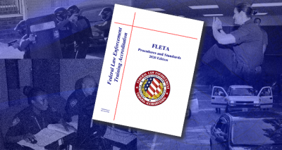 The cover of the FLETA Procedures and Standards Manual on top of four images of federal law enforcement training
