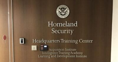 The sign to the Homeland Security Intelligence Training Academy