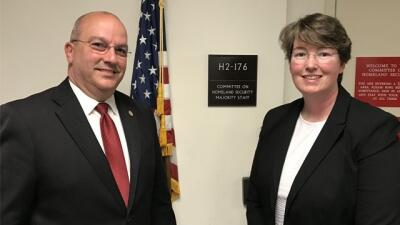 Joe Collins and Christiana Halsey at the offices of the House Committee on Homeland Security