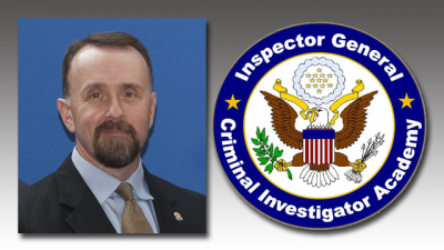 Photo of Robert Ray next to Inspectors General Criminal Investigator Academy seal