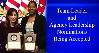 Two ladies holding award with text Team Leader and Agency Leadership Nominations Being Accepted