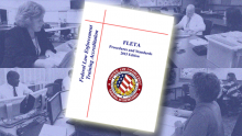 FLETA Procedures and Standards manual over four images of assessors performing assessment duties